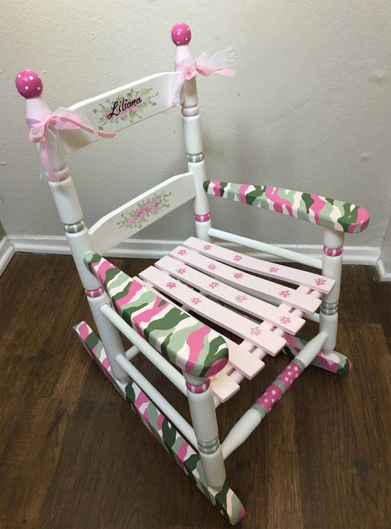 Pink Camo Girls Rocking Chair Hand Painted Child S