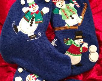 Trio of Recycled Christmas Sweater Stockings