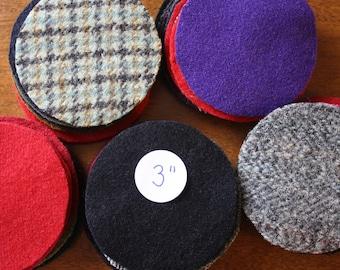Wool Circles -- 50 - 3 inch Wool Circles -- Precut Recycled Felted Wool Circles -- Wool Pennies