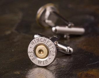 Bullet Cufflinks, Winchester 308 Nickel Bullet Cufflinks, Wedding Cufflinks, Groom Gifts, Groomsmen Gifts, Bullet Cuff Links