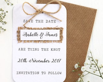 Wedding save the dates etsy rustic burlap hessian save the date card with twine bow detailing stopboris
