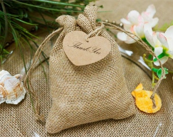 "Burlap Favor Bags Wedding Rustic Favor Bag Primitive Rustic Favor Bags with Jute & Custom Tags Showers Weddings, 5"" x 7"""