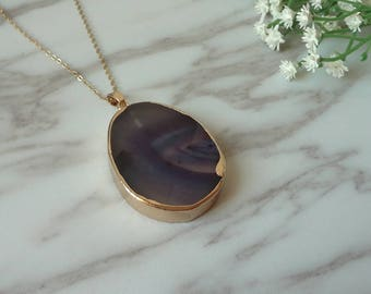 Purple Natural Agate Charms Gold Plated Raw  Pendan Necklace 1320