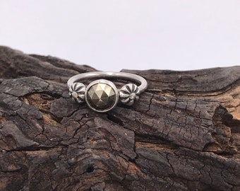 SALE Faceted Pyrite Flower Ring 6.5