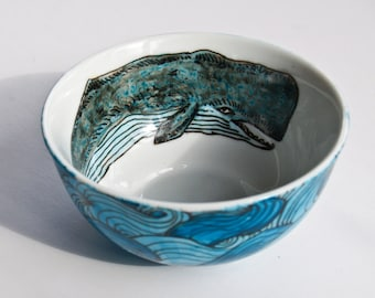 Sperm Whale & Waves Bowl - Hand Painted