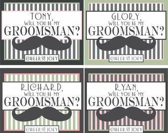Wedding Groomsman Mustache Liquor Labels and Beer Labels - Will you Be My Bridal Party and Best Man Favors
