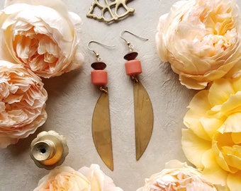 Wood Pink Brass Beaded Earrings / Gold Jewelry / Beaded Earrings