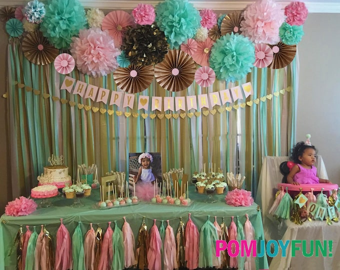 Backdrop Decorations 14 Poms 12 Rosettes Party Decor Backdrop, Fans, Pom Wheel Backdrop and Paper Medallions, Gender Reveal Paper Rosettes
