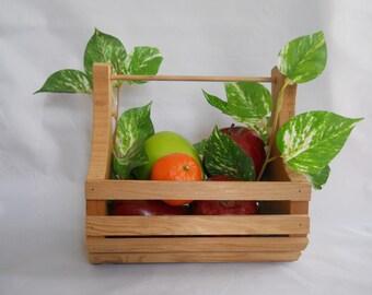Wooden Basket, Clam Style Decorative Basket