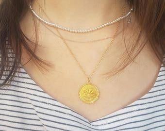 Gold coin necklace, coin necklace men, gold coin pendant, antique necklace delicate gold necklace everyday necklace gold bridesmaid necklace