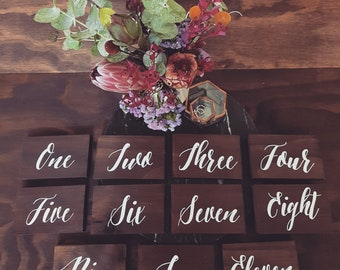Wedding Table Numbers, Wooden Table Numbers, Wedding Signs, Table One, Bridal Table Sign, Custom Sign, Rustic Wedding Decor, Boho Wedding