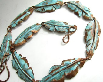 In The Tropics Necklace - Copper Banana Leaves and Green Patina
