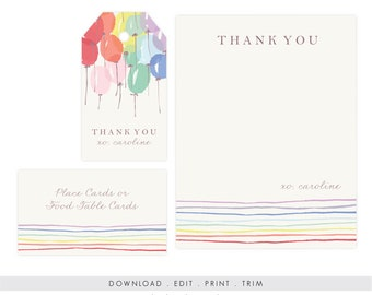 Rainbow Party Thank You and Gift Tags | Rainbow Birthday, Gift Tags, Favor, Editable, Printable, Template, Instant Download, PDF