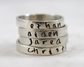 Mother's Day gift, Personalized ring, stacking rings, solid sterling silver, name ring, custom hand stamped, mother gift, pure silver