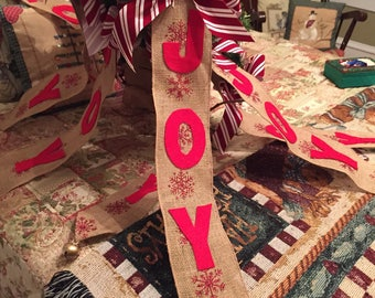 "Christmas Seasonal Burlap ""Joy"" Door Hanger"