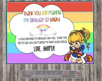 Rainbow Brite Birthday Party Thank You,Custom, Personalized, Printable, digital file, Rainbow Bright Invitation