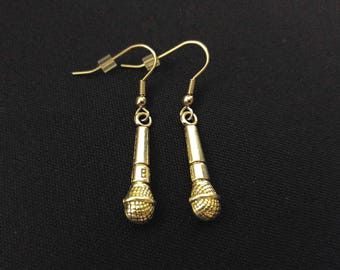 MICROPHONE MIC Charm Earrings Stainless Steel Ear Wire Silver Metal Unique Gift