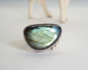 Labradorite Ring, Blue Green Flash, Sterling Silver and 14kt Gold