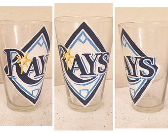 Tampa Bay Rays Inspired Hand Painted Pint Glass