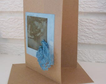 Eco Print and Indigo Greeting Card, Handmade Natural Card