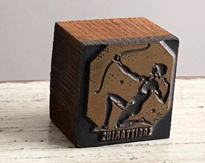 Sagittarius Vintage Newspaper Letterpress Printing Zodiac Type Block