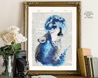 Wolf Poster - Wolf wall art - Wolf  birthday - Wall art, Poster Dictionary art, Dictionary Art - Print Wall Decor, Nursery Wall Art