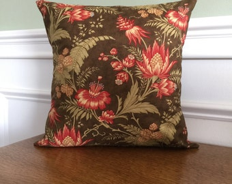Throw Pillow Cover - Linen Pillow Sham - Decorative Pillow - Designer Cotton Fabric - Red Floral on Brown - 14 inch - Sofa Pillow