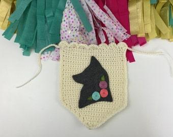 Fox Decor, Crochet Banner, Grey Fox Banner, Party Decor Garland, Fox Nursery, Embroidered Flowers, Fox Wall Hanging, Crochet Fox Banner