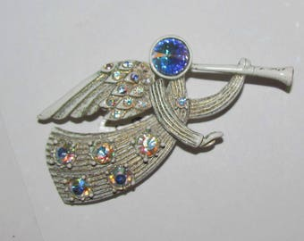 Vintage 1960's Trumpeting Angel Christmas Pin Brooch with White & Gold Painted finish and AB Rhinesstones