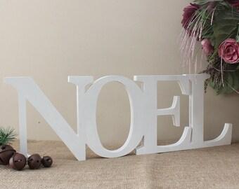 "Noel Free Standing 10"" Letters, Noel Christmas Decor, Noel Letters, Noel Wood Sign, Holiday Decor, Christmas Photo Prop, Mantel Decoration"