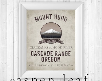 PRINT ** Mount Hood Oregon Mountain Print - 8x10, 11x14, 16x20, 20x30 - Farmhouse Decor, French Country Decor
