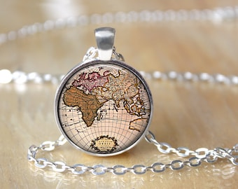 Glass globe necklace etsy world map necklace vintage map pendant glass globe necklace traveler gift l62 gumiabroncs Gallery