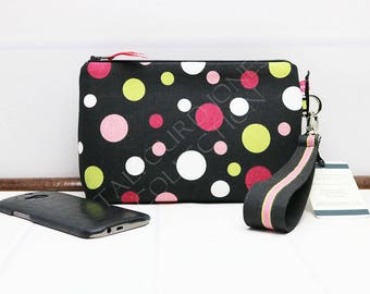 Polka Dot Wristlet - Iphone Wristlet - Cell Phone Clutch - Smartphone Wristlet - Zipper Phone Wallet - Spotted Bag - Gift for Her