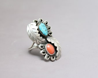 Sterling Silver Native American Old Pawn Ring with Turquoise, Coral, and Leaves