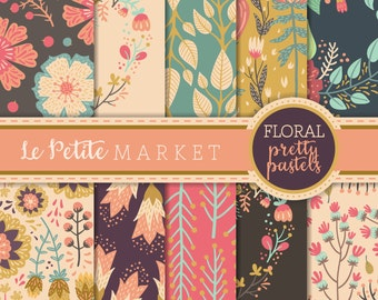 Digital Floral Paper Pack, Digital Paper Pack, Wedding Paper, Scrapbooking Paper, Country Chic Paper, Country Flowers, Country Paper, Rustic