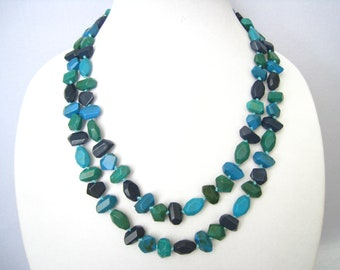 "COLDWATER CREEK 47""  Long Beaded Necklace. Mix of Bead Colors From Blue to Green and in Between.  Knots of Aqua String Between All Beads."