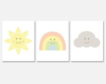 Kawaii Printable Wall Art, Nursery Art Printable, Sun Rainbow Cloud Art Print Download, Downloadable Baby Room Artwork, Kawaii Nusery Decor