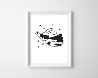 INSTANT DOWNLOAD - The 'Super Bunny' Nursery Wall Art Poster | Gift | Nursery Art | Wall Art | Batman | Monochrome | Superhero