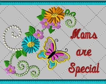 """Machine Embroidery Design-ITH-Mug Rug-""""Moms are Special"""" with Butterfly and Zinnias includes 2 sizes, 5x7 and 6x10 hoops"""