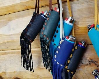 Lighter Holder Handmade Deerskin with Fringe -ONE: We Choose For You- Colors Vary