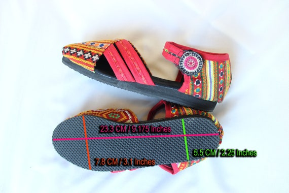 Hmong Uppers 7 Shoes T Cross Summer Hand Ethnic Womens Stitched US Strap FromThailand Sandals Cotton Fabric Vegan 8fwZnRqB