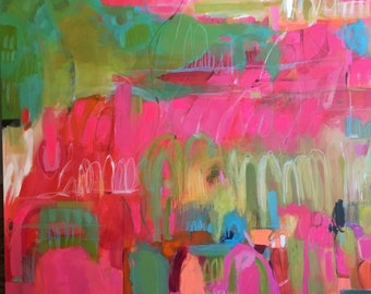 "Pink Abstract Painting Mixed Media 48x36"" Canvas by Karen Fields"
