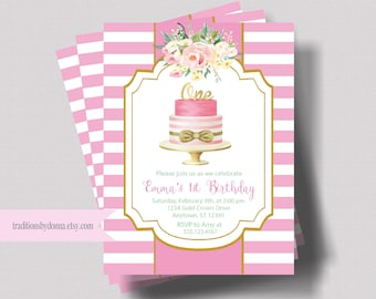 FIRST BIRTHDAY INVITATION For Girl | 1st Birthday Invitation Pink and Gold Glitter | Watercolor Floral Birthday Invite | Shabby Chic | Boho