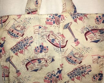 Vintage table cloth made into a bag 15 by 10 italian street scapes