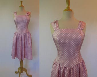 Vintage Dress - Pink Sundress With White Polka Dots - Extra Small - Bust 76 cm