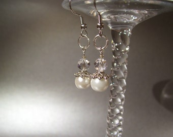 Vintage White Pearl and Swarovski Clear Crystal Earrings on Silver French Wire