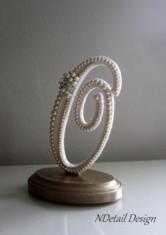 elegant cake topper monogram letter o vintage ivory pearls