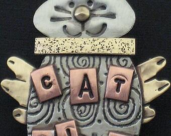 CatFish Pin, Kitty Pin, Kitty with a Fish Pin RP0387