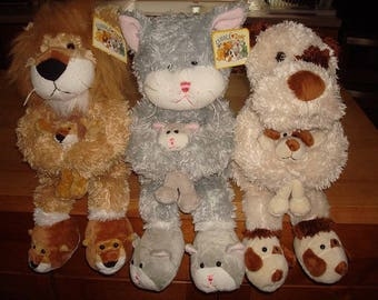 Set Of Three Different Vintage Cuddle Zone Stuffed Animals With Original Tags NOS