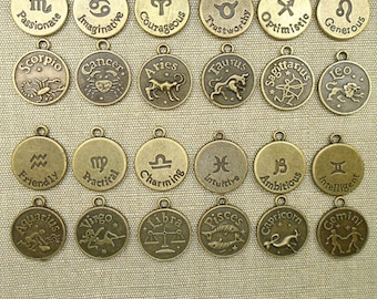 12 Zodiac Charms Double Sided Charms Horoscope Charms Astrology Charms Celestial Charms Antique Bronze Charms #1016